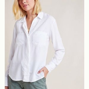 Anthropologie White Button Down Collared Shirt